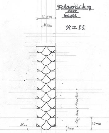 Entwurfszeichnung Schieferdeckung Pfosten einer Gaube